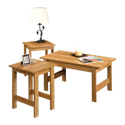Sauder - Sauder Beginnings 3 Pack Table Set in Highland Oak - Sauder - Coffee Table Sets - 412936 -  Features: