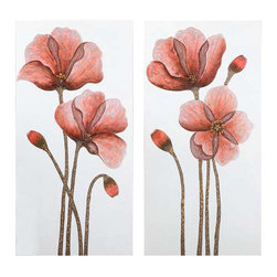 Uttermost Floral Aura Art, Set/2 - Hand painted on stretched canvas. This hand painted artwork features stately flowers on canvas that is stretched and attached to wooden stretching bars. Due to the handcrafted nature of this artwork, each piece may have subtle differences.