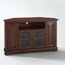"""Crosley - Alexandria 48"""" TV Stand - Enhance your living space with Crosley's impeccably-crafted Corner TV stand. This signature cabinet accommodates most 52"""" flat panel TVs, and is handsomely proportioned featuring character-rich details sure to impress. Perfect for blending with the family of furniture that is already part of your home. Panel doors strategically conceal stacks of CD/DVDs, and various media paraphernalia. Tempered glass doors not only add a touch of class; they protect those valued electronic components, while allowing for complete use of remote controls. The open storage area generously houses media players and the like. Adjustable shelving offers an abundance of versatility to effortlessly organize by design, while cord management tames the unsightly mess of tangled wires. Style, function, and quality make this cabinet a wise choice for your home furnishings needs. Features: -Alexandria collection. -Solid hardwood and veneer construction. -Wire management. -Beautiful raised panel doors. -Three adjustable shelves. -Beveled tempered glass. -Adjustable levelers in legs. -Accommodates most 52"""" TVs. -ISTA 3A certified. -Manufacturer provides 3 months limited warranty."""