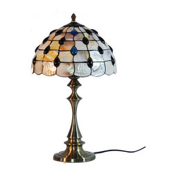 ParrotUncle - Antique Tiffany Table Lamps With Sea Shell Shade - There is no easier way to add functional light to your home while adding an artistic touch than with these Antique Tiffany Table Lamps With Sea Shell. Simply plug one in and place it on an end table, desk, or wherever you like. Even when not being used the bright colors in the glass will add a special touch that no ordinary lamp can achieve.