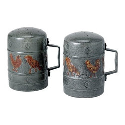 Old Dutch International - Rooster Salt & Pepper Set - Give your table a charming, rustic feel with this chased rooster salt and pepper set. You'll always have your favorite seasonings handy with these handcrafted, 4.25-inch high iron shakers, which come in a warm antique patina.
