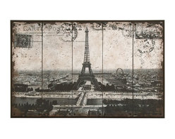 Benzara - Wall Art of Postcard Style Paris Eiffel Tower - Why not enjoy your decor with reminders of one of the most romantic places in the world. This center piece of this table decor is the iconic monument of Paris, the grand Eiffel Tower. And the unique postcard style of the art makes it truly eye-catching. We all love to travel, so why not enjoy these experiences between trips from the comfort of your own home.