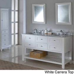 Direct Vanity Sink - Pearl White 60-inch Mission Spa Double Vanity Sink Cabinet - The pearl white finish wood of this mission style bathroom vanity cabinet features two functional center drawers on soft closing glides flanked with two doors with faux drawer front on the left and right,also on soft closing mechanism.