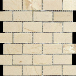 "Pietra Naturale 3""x6"" marble subway tile, Crema Marfil - Pietra Naturale 3""x6"" marble subway tile, Crema Marfil, brushed finish"