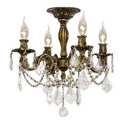 Elegant Lighting - Elegant Lighting 9204F17AB Rosalia 4-Light, -Tier Semi-Flush Crystal Chandelier, - Elegant Lighting 9204F17AB Rosalia 4-Light, -Tier Semi-Flush Crystal Chandelier, Finished in Antique Bronze with Clear CrystalsElegant Lighting 9204F17AB Features: