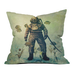 Deep Sea Stroll Pillow Cover - Take a walk through an undersea garden with this intrepid explorer. Your couch will look fantastic with his vintage-style visage tucked into a corner.