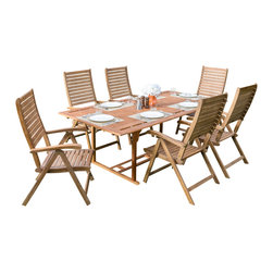 Great Deal Furniture - San Clemente Outdoor 7pc Hardwood Dining Set - The San Clemente 7pc Outdoor Dining Set is perfect for any patio or outdoor dining area. This set is made with eucalyptus wood, complimenting the natural elements to any outdoor environment. The table includes an umbrella opening to create shade for those hot days and the chairs are fold-able for easy storage or stacking. The set comfortably seats 7 guests.