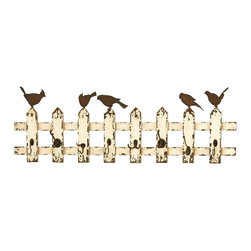 Woodland Imports - Rustic Finish Beige Wooden Fence with Birds 8 Wall Hook Accent Decor 34872 - Long lasting rustic finish beige wooden fence with birds 8 coat and jacket storage wall hook accent home decor