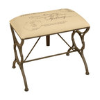 Welcome Home Accents - Postcard Stamped Bench - Distressed bronze metal legs and burlap color fabric adorn this bench. Cloth is a neutral fabric with old postcard stampings. Wipe with a dry cloth. Made in China.