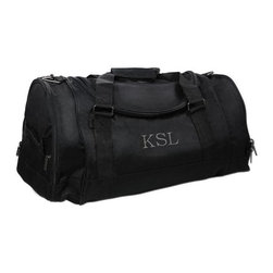Home Decorators Collection - Personalized Deluxe Sports Duffel Bag - Get out and play with our ultra versatile Personalized Deluxe Sports Duffel Bag. Perfect for everything from trips to the gym to a weekend getaway, this duffel has all the features you'll need to stay organized, including a U-shaped side closure, several spacious pockets, padded nylon handles and a reinforced cardboard bottom. Crafted of sturdy 600D polyester with PVC piping. U-shaped zipper side closure. Removable, adjustable shoulder strap. Embroidery of up to three block initials in your choice of color for no extra cost.