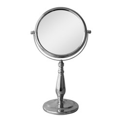 None - Free Standing Chrome Teardrop Shape 5X Magnifying Makeup Mirror - The free standing mirror with LED lights is perfect to use during makeup application and while plucking out eyebrows. It features a metal construction in a chrome finish, subtle teardrop shape on the stand, and 5X magnification. Mirror size - 7.5 inch