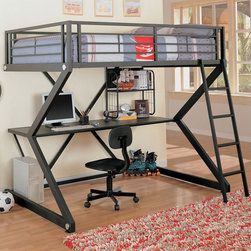 Coaster - 460092 Workstation Loft Bed - This updated style full loft bed conveniently includes a desk with lots of space. Full length side rails provide security, while the included ladder offers easy access to the top bunk. The complete set comes in a black matted finish.