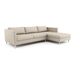 Mota Chaise Sectional (Eco-Friendly) - Modern style eco-friendly sectional sofa that is made with 100% alder wood, all natural latex and eco wool, and comes in a large variety of natural or recycled fabrics. It's made in Los Angeles, and is natural from the inside out with no use of chemicals or fire retardants. It can also be made to the inch, and customized to the exact layout you need.