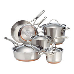 Anolon - Nouvelle Stainless Steel 10-Piece Cookware Set - The Anolon Nouvelle Stainless Steel 10 piece set includes all the essential cooking tools to accommodate all your culinary needs. The stainless steel encapsulated copper base ensures even heat distribution, enduring food releasing performance and easy cleaning. Features: -A full layer of copper sandwiched between two layers of aluminum.-This unique combination offers unmatched heat distribution and controlled cooking performance.-Suitable for use on all stovetops including glass and induction.-Handles are double riveted to the pan for durability.-Lid handle has extra clearance for easier lifting.-Broiler and dishwasher safe for convenience.-Set includes 2 covered saucepans, 1 stockpot, 1 covered saute and 2 French skillets.-Stainless steel construction.-Highly polished exteriors contrast with brush finished interiors which help hide scratches from metal utensils.-Nouvelle Stainless collection.-Collection: Nouvelle Stainless.-Distressed: No.Dimensions: -Overall dimension: 13.625'' H x 10.875'' W x 23.375'' D.-Overall Product Weight: 23.98 lbs.Warranty: -Manufacturer provides lifetime limited warranty.