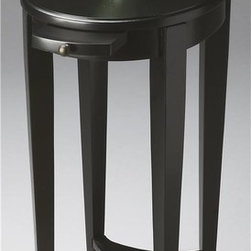 Butler - Masterpiece 15 in. Accent Table - Cherry veneer top. Lower shelf. Pull out tray with antique brass hardware. Made from selected hardwood and veneers. Black licorice finish. 15 in. W x 12 in. D x 26 in. H (10 lbs.)This attractive accent table is perfectly proportioned to sit beside an easy chair or serve as a bedside table. Masterpiece represents Butler's hand-picked collection of lifestyle pieces for those with discriminating tastes and a desire to be different. This collection is, above all, eclectic, offering a wide range of styles designed to provide bright accents for traditional to contemporary decors.