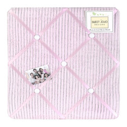 Sweet Jojo Designs - Pink Chenille Fabric Memo Board - The Pink Chenille Fabric Memo Board with button detail is a great way to display photos, notes, and postcards on your child's wall. Just slip your mementos behind the grosgrain ribbon to create an engaging piece of original wall art. This adorable memo board by Sweet Jojo Designs is the perfect accessory for the matching children's bedding set.