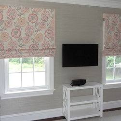 Beautiful New Home in Westchester - Girl's bedroom - waterfall roman shades with decorative trim