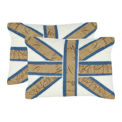 Safavieh - Safavieh Charles Pillow (2) X-2TES-9131-B888LIP - The British Union Jack gets a fashion makeover with stripes of burlap sack cloth in natural hemp appliqu&#233:d to layers of fringed blue denim cotton fabric.