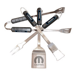 Motorhead Products - Mopar Barbecue Set - This set offers all the tools needed to bring the barbecue game to the next level. Each piece is perfectly coordinated to show dedication to grilling and favorite cars at any cookout or tailgating party.   Includes spatula, tongs, fork and basting brush Stainless steel / ABS Hand wash Imported