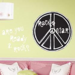 RoomMates - Rock n Roll Peel and Stick Chalkboard Mega Pack Multicolor - RMK1436SLM - Shop for Stickers from Hayneedle.com! Your tween or teen will be ready to rock the house with the Rock n Roll Peel and Stick Mega Pack. This wall decal mega pack is mega-fun with a large peace sign decal that's also a chalkboard (chalk included) and several phrases in white lettering. Your older kids will love showing off their personal style and even better they can remove and reuse the decals as their tastes change. And unlike that giant poster of the current teen heartthrob these decals don't have to be attached with pins or tape so they're completely safe for your walls. Rock on!Additional Features:White phrase decals show up best on dark wallsRemove and reapply as many times as you likeSizes range from 2.25W x 2.75H to 26 diam. inchesWipe clean with eraser or soft damp clothDon't use glass cleaner; may cause colors to runAbout Roommates:Roommates a subsidiary of York Wallcoverings Inc creates some of the most versatile and unique wall decor you'll find. Their innovative wall decals feature a removable and endlessly reusable design allowing you to move and rearrange your decals as often as you like all without causing any damage to your walls or furnishings. This means you can apply them without worry or headache since you don't have to get the application perfect the first time. RoomMates work on any smooth surface and are particularly ideal for temporary decorating such as around the holidays. All RoomMates products are proudly made in the USA and are made from non-toxic materials so they're as safe for your kids and pets as they are for your walls.Please note this product does not ship to Pennsylvania.