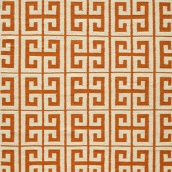 Laguna LG-05 Orange Rug - 8'x10' - Geometric patterns, vibrant colors and chic simplicity all collaborate to make the flat-weave Dhurry collection, Laguna. Made in India of 100% wool, Laguna utilizes a vibrant color palette that plays off geometric patterns often found in paving stones, basket weaves and nature.
