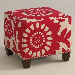 "World Market - Gerber McKenzie Ottoman - Cozy up with our custom-made Gerber McKenzie Ottoman, handcrafted in the U.S.A. with cotton upholstery and nail head trim. Showcasing a bold floral pattern in cherry red, this plush ottoman makes a bold statement. Pair two ottomans for a dramatic ""bench"" at the foot of the bed. Shop our coordinating bed or headboard in the same custom fabric for a pulled together look."
