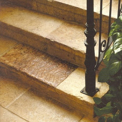 Antique French Bourgogne limestone - These flagstones are reclaimed from properties in the Burgundy region of France, an area almost as famous for its stone as for its wine.