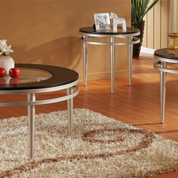Homelegance - Hodges 3-Pc Occasional Table Set - Includes one cocktail and two end tables. Contemporary style. Wood table top. Offset round glass inserts. Brushed nickel metal tubular legs. Ebonized finish. End table: 24 in. Dia. x 21 in. H. Cocktail table: 36 in. Dia. x 20 in. H