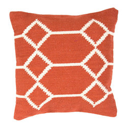 """Jaipur Rugs - Red/Ivory color cotton cad04 pillow poly fill pillow 18""""X18"""" - Hand woven from 100% cotton the Cadiz pillow collection offers a range of open geometrics in bold color combinations. The collection coordinates with Jaipur Maroc and Urban bungalow flat weave rugs."""