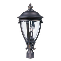 Maxim Lighting - Maxim Lighting Camden VX -Outdoor Pole/Post Lantern X-OGGW12414 - Botanical accents from top to bottom compliment the graceful look of this Maxim Lighting outdoor post lantern light. From the Camden VX Collection, this traditional outdoor lighting fixture also features a tapered body and gentle tapered roof. The Golden Bronze finish highlights the finer details while a water glass shade completes the look.