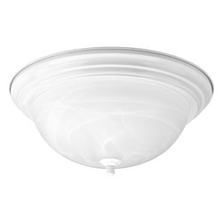 Progress Lighting - Progress Lighting P3926-30 Three-Light Close-To-Ceiling With Alabaster Glass Bow - Three-light flush mount with dome shaped glass, solid trim and decorative knobs.