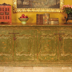 """Carved and painted four-door Spanish colonial sideboard - BC-CAB-13: This beautiful four-door Spanish colonial sideboard measures 84"""" L x 22"""" D x 36"""" H and is based on an 18th century antique from Peru. Also available in an antique fruitwood finish."""