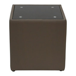 Diamond Sofa - End Table with Glass Top - Black oiled glass top. Contemporary design. Sleek and clean lines. Warranty: One year. Made from bonded leather, polydacron and polyester fibers. Mink brown finish. No assembly required. 22 in. W x 22 in. D x 23 in. H (50 lbs.)The Steel Collection by Diamond Sofa brings a chic, yet simplistically classy addition to any room's décor. Functional for any room in the home, it oozes style and delivers fashionable function to your home's decor.