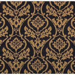 York - 683305 Royal Standard Damask Wallpaper - 683305 Royal Standard from Bling is a metallic gold damask on a black wallpaper.