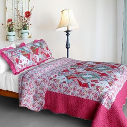 Blancho Bedding - [Rose Garden] Cotton 3PC Vermicelli-Quilted Patchwork Quilt Set(Full/Queen Size) - Features intricate machine/hand-stitching patterns and beautiful prints with timeless appeal.Creates a cozy and inviting atmosphere and is sure to transform the look of your bedroom.Gives the finishing touch to your room decor; Enjoy a good night's sleep in a luxurious quilt set.Pre-washed, pre-shrunk, reversible and vermicelli-quilted for elegance and durability.Soft materials and high tenacity; Fine and concentrated stitches; Machine washable and dryable.