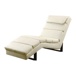 Monarch Specialties - Monarch Specialties 8908 Chaise Lounger in Taupe Leather - This modern taupe bonded leather chaise lounger will make a wonderful addition to your living room. Its contemporary style enhances any room with its rectangular shaped and exquisitely cushioned seating. Stretch out after a long day of work and relax your head on its padded head rest.  The chic design creates an inviting feel, and the solid feet provide sturdy support this piece.