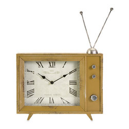 IMAX - Garrett Retro TV Clock - - The Garrett clock takes inspiration from retro modular television models and adds the classic rabbit ear design to the mustard finished enclosure.  - Materials: 90% MDF, 10% Iron  - Country of Orgin: China IMAX - 89118