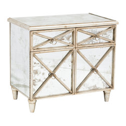 Humphrey Mirrored Cabinet - The Humphrey Mirrored Cabinet features hand applied champagne silver leaf detailing, beautiful crosshatch door and drawer fronts and antiqued mirrors..