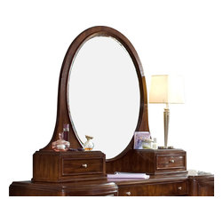 Lea Industries - Lea Elite Rhapsody Oval Bureau/Hutch Mirror in Cherry Color - Fitting today's fashion and lifestyle, the Elite Rhapsody collection is sure to make every teen's dream come true. In a dark burgundy toned cherry finish, each-Piece features matched veneers on drawer fronts with beautiful curves and graceful lines.