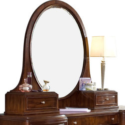 Lea Industries - Lea Elite Rhapsody Oval Bureau/Hutch Mirror in Cherry Color - Fitting today's fashion and lifestyle, the Elite Rhapsody Collection is sure to make every teen's dream come true. In a dark burgundy toned cherry finish, each piece features matched veneers on drawer fronts with beautiful curves and graceful lines. This collection is custom designed with jewelry-like hardware that definitely completes the stunning d