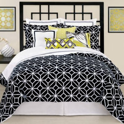 Trina Turk - Trina Turk Trellis Duvet Cover - This duvet cover by Trina Turk is a wonderful take on the classical 60's era look. The always chic color combination of black and white is a fresh update to the trellis pattern printed on a cotton jacquard.
