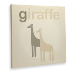 "Wendy Bellissimo - Wendy Bellissimo Avery Canvas Wall Art - Avery Giraffe Canvas Wall Art complements your nursery. Features a sweet gentle giraffe with the words saying ""Giraffe"". Soft hues in ivory, grey, and light tan."