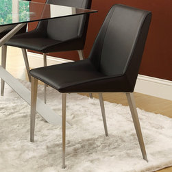 "Coaster - Anderson Side Chair - Set of 2 - Equally chic, black side chairs with metal legs complete the stylish look of this table set.; Contemporary Style; Black Vinyl; Dimensions: 18.50""L x 23.25""W x 32.25""H"