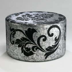 Cyan Design - York Round Ottoman - York round ottoman - silver and black