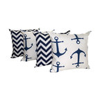 Land of Pillows - Zig Zag and Anchors Navy and White Decorative Throw Pillows - 4 Pack, 18x18 - Fabric Designer - Premier Prints