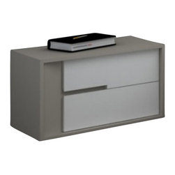 Creative Furniture - Solo Modern Nightstand in Grey and White - Serving as the harmonious addition to the Solo Bed (sold separately), this Nightstand offers modern and stylish appearance accented with 2-tone Grey and Matte White finish. The nightstand has durable MDF construction and soft closing drawers.    Features: