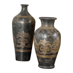 Uttermost Mela Tall Decorative Vase - Terracotta hand painted in aged black and gold. This terracotta vase is hand painted in aged black and gold.