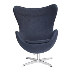 Lemoderno - Fine Mod Imports  Inner Chair Fabric, Black - This wonderful chair features a molded fibre glass frame, fire retardant polyurethane foam padding, and covered with 100% wool fabric