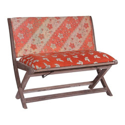 Modelli Creations - One Of A Kind Kantha Bench In Red Striped Floral Pattern - This bench is made of shesham wood and folds for easy stow away. Upholstered with beautiful kantha fabric this bench will add interest and color to any space