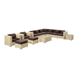 LexMod - Cohesion Outdoor Wicker Patio 11 Piece Sectional Sofa Set in Tan with Brown Cush - Preside steadfastly at each assembly as concurrent movements take you forward. The Advance Outdoor Sectional Set brings you to a place of carefully considered output and restorative order. Embrace a homeostatic system where precise handiwork help you attain true collectivity.